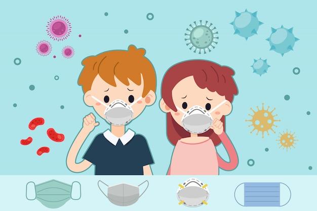 ウイルスとバクテリアのバナーと人間の付いた塵はマスクを着用します。