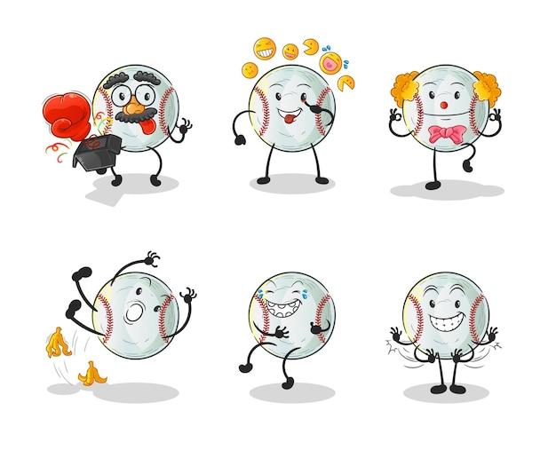 野球コメディーセットキャラクター。漫画のマスコット