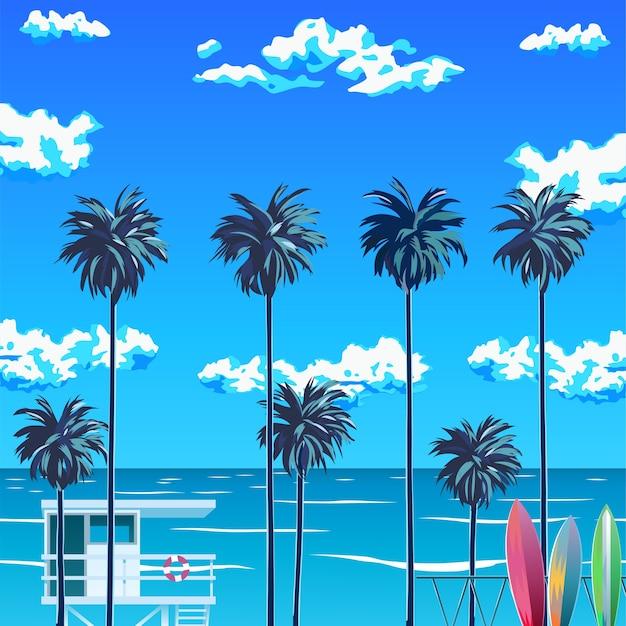 ヤシの木と青い空のあるビーチ。