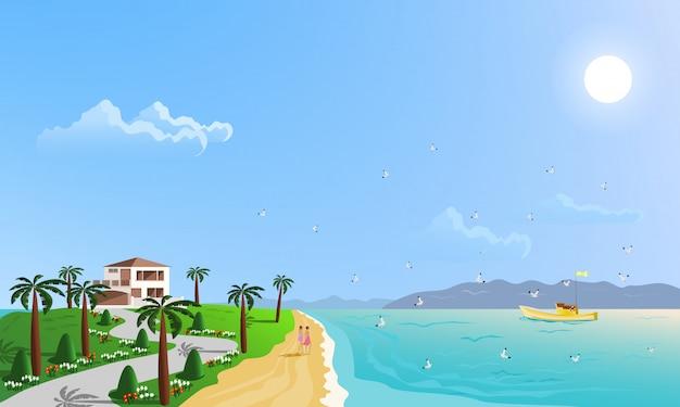 На берегу моря расположены зеленые холмы, окруженные пальмами.