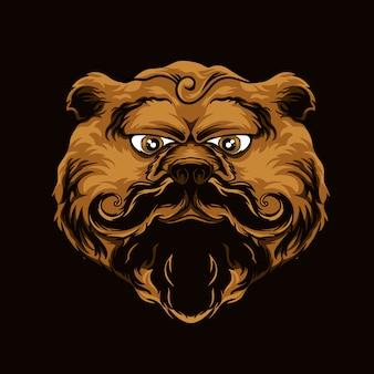 멋진 콧수염 일러스트와 함께 곰 갈색