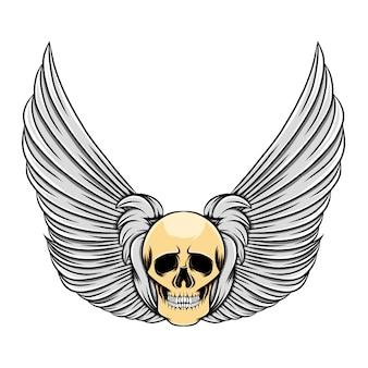 Красивые перьевые крылья с старинным мертвым черепом
