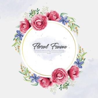 아름다운 꽃 프레임 수채화와 손 그리기 스타일