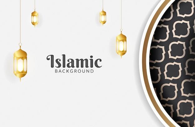 황금 랜턴과 아름다운 이슬람 배경