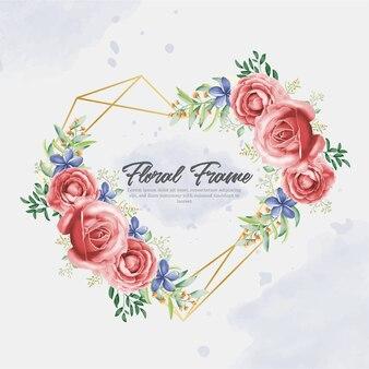 아름다운 사랑 꽃 프레임 수채화 및 손 그리기 스타일