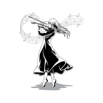 Красивая иллюстрация скрипача