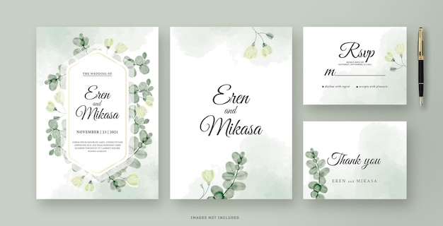 ユーカリの葉の水彩画と美しい結婚式の招待カード