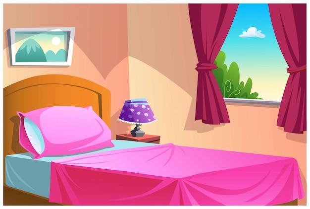 집안의 침실은 매우 달콤하고 아름답습니다.