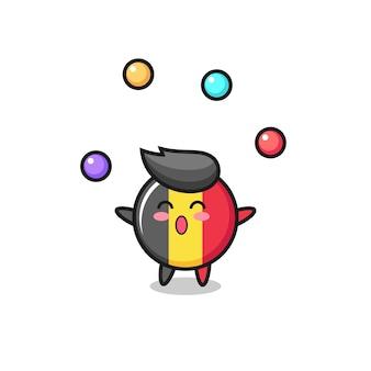 공을 저글링하는 벨기에 국기 배지 서커스 만화, 티셔츠, 스티커, 로고 요소를 위한 귀여운 스타일 디자인