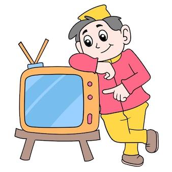 Посыльный стоял у телевизора, чтобы продвигать векторные иллюстрации. каракули изображение значка каваи.