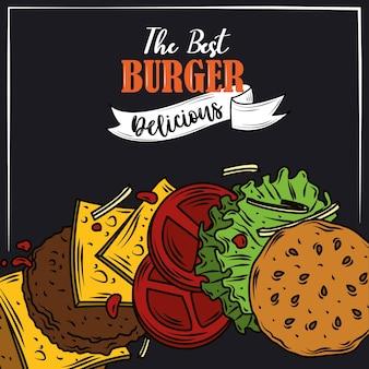 最高のハンバーガーおいしいファーストフードレイヤー製品黒の背景デザイン