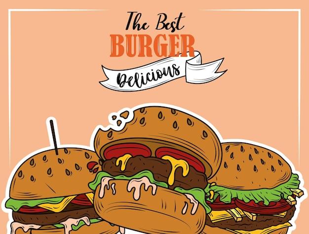 最高のハンバーガーおいしいファーストフードメニューレストランのチラシデザイン