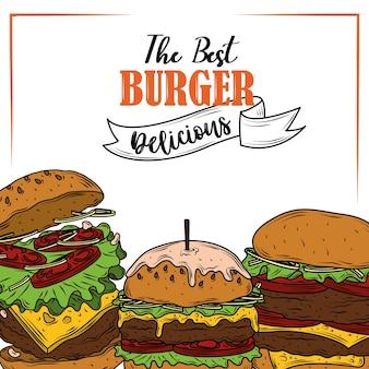 最高のハンバーガーおいしい野菜と食材のファーストフード