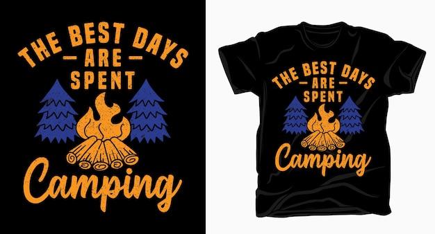 Лучшие дни, проведенные в кемпинге, типография футболка