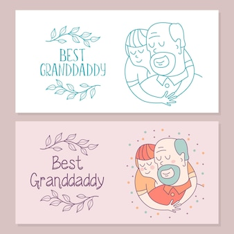 최고의 할아버지. 할아버지와 손자. 벡터 엽서입니다.