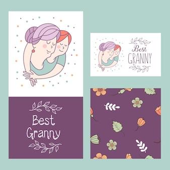 최고의 할머니. 할머니와 손녀. 벡터 엽서입니다.