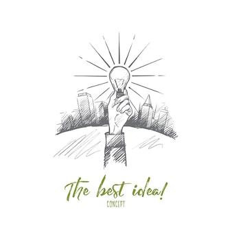 Лучшая идея концепции. ручной обращается рука с светящейся лампочкой. лампочка как символ новой идеи изолировала иллюстрацию.