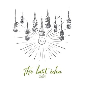 Лучшая идея концепции. нарисованные от руки лампы, одна из них светится. светящаяся лампа символ идеи или решения изолированной иллюстрации.