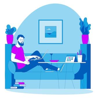 リモートでの作業に最適な場所。若い男はソファに座って外注しています。緯度設計図、webサイト、プレゼンテーション、モバイルアプリのアニメーションコンセプトの準備ができて。