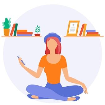 Лучшее место для удаленной работы. молодая женщина работает на стороне. lat дизайн иллюстрация, готовая концепция анимации для веб-сайта, презентации, мобильного приложения.