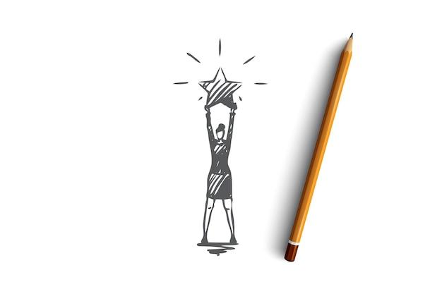 Лучшее, рейтинговое, профессиональное понятие. женщина, стоящая с большой сияющей звездой в руках. нарисованная рукой иллюстрация эскиза