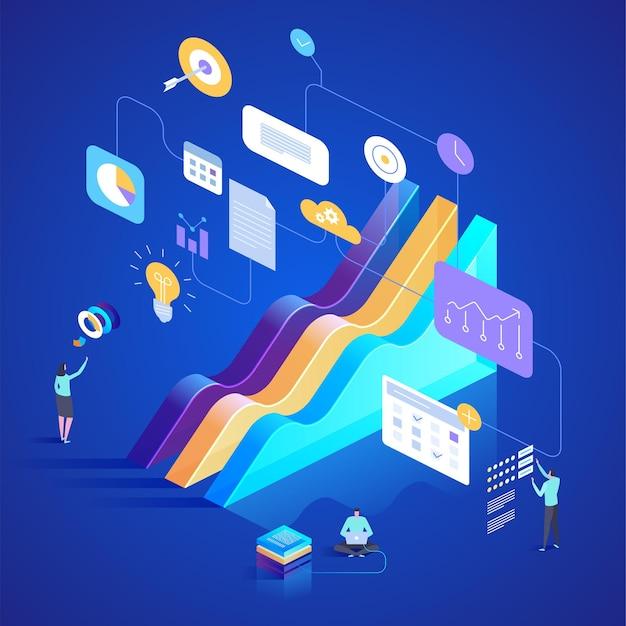 연구 및 데이터 분석에서 최고의 통계 도구입니다. 방문 페이지, 웹 디자인, 배너 및 프리젠 테이션을위한 아이소 메트릭 그림.