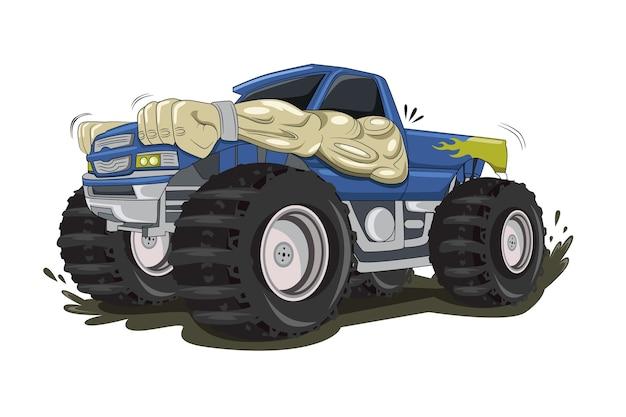 大きなモンスタートラックの車のイラストベクトル