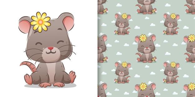 Большая мышь с заколкой для волос с подсолнухами сидит в милой позе иллюстрации Premium векторы