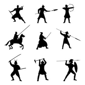 Большой набор воинов силуэт