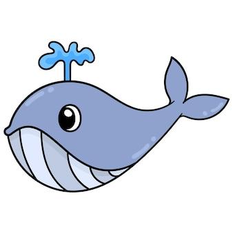 Большой кит плещет воду со спины, векторная иллюстрация. каракули изображение значка каваи.