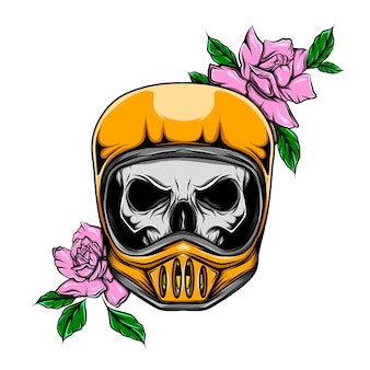 ヘルメットと花を持つバイカー