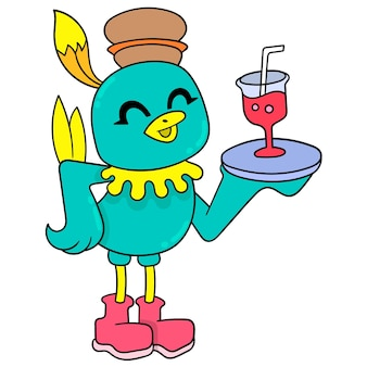 Птица служит официантом, подающим свежий сироп, векторные иллюстрации. каракули изображение значка каваи.