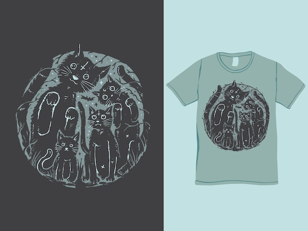 Семейство черных кошек для дизайна футболки на хэллоуин