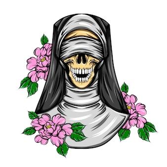 ランダムな色の花を持つ盲目の頭蓋骨の修道女