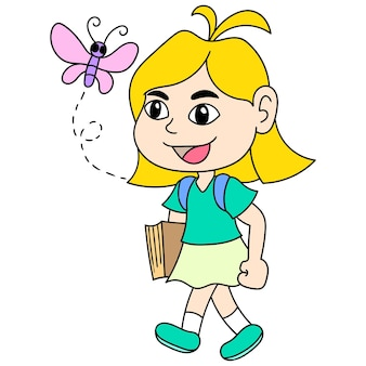 금발 머리의 여자가 학교를 향해 걸어가고 있었고, 캐릭터가 귀여운 낙서를 그렸습니다. 벡터 일러스트 레이 션