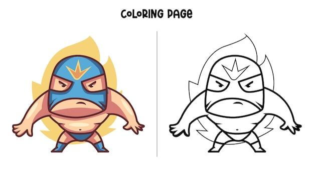 Борец с синей маской Premium векторы