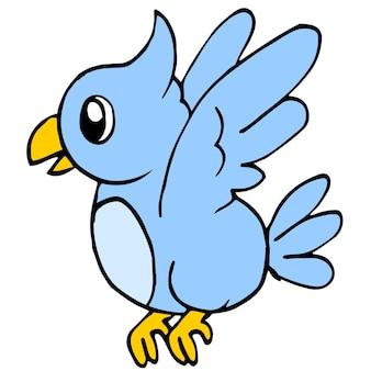 파란 앵무새가 날고 있습니다. 만화 그림 스티커 마스코트 이모티콘