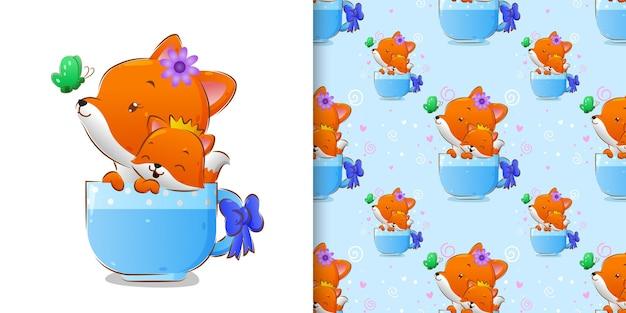 イラストの蝶とお茶のカップの中の2つのキツネの青いパターン