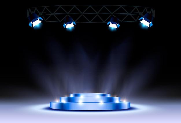 青い表彰台は、黒い背景で勝者または人気があります