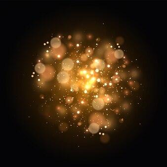 Эффект боке света изолирован на прозрачном фоне. желтая пыль, желтые искры и золотые звезды сияют особым светом. сверкающие частицы волшебной пыли.