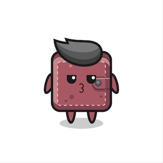 かわいい革の財布のキャラクターの退屈な表現、tシャツ、ステッカー、ロゴ要素のかわいいスタイルのデザイン