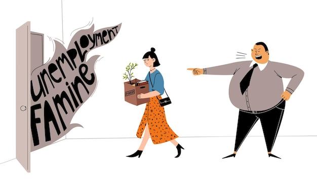 상사는 그 소녀를 직장에서 해고합니다. 좌절 한 여성이 작업 항목 상자를 들고 퇴근합니다.