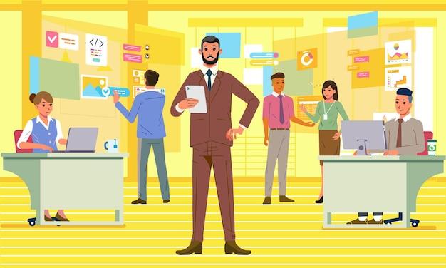 Босс проверяет работу своих сотрудников на иллюстрации цифрового офиса