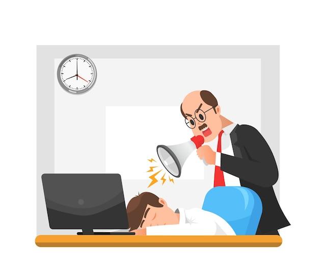 Босс ругает спящего сотрудника в мегафон