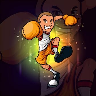イラストのボクシングマンeスポーツマスコットデザイン