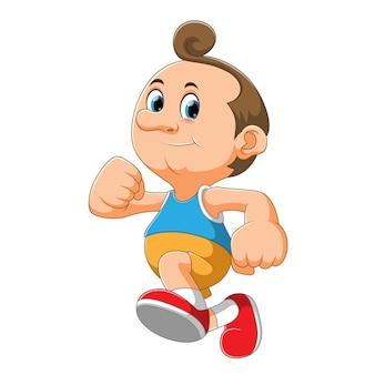 イラストの幸せな気持ちで走りながらスポーツをしている少年