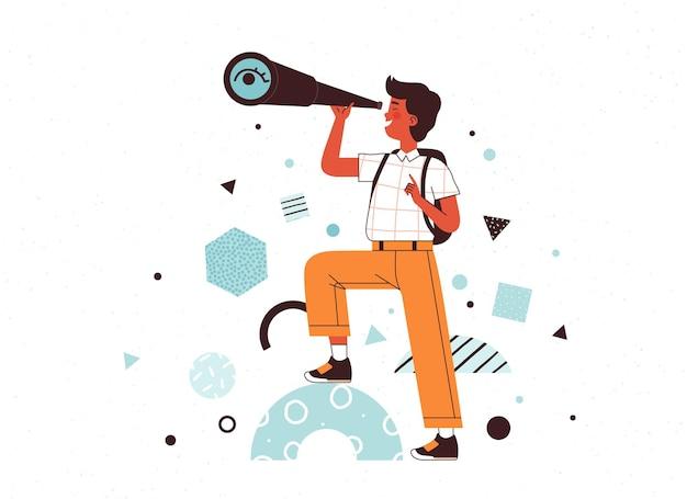 소년은 망원경을 통해 보고 미소 어린이 연구 작업 개념