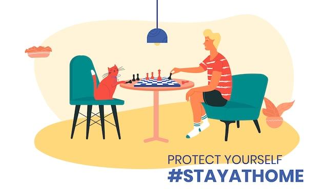 コロナウイルス隔離イラスト中に猫とチェスをしている少年。自宅のハッシュタグに滞在します。自己隔離によるcovid-19検疫中のコロナウイルス感染の防止。