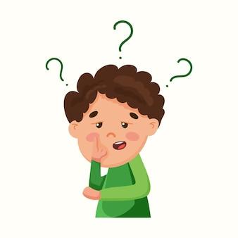 소년은 질문에 대해 곰곰이 생각합니다. 남자는 문제에 대한 해결책을 찾고 있습니다. 평면 스타일의 벡터 일러스트 레이 션