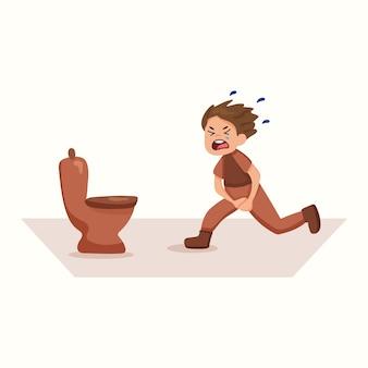 その少年はトイレに駆け寄る。失禁。フラットスタイルのベクトル図